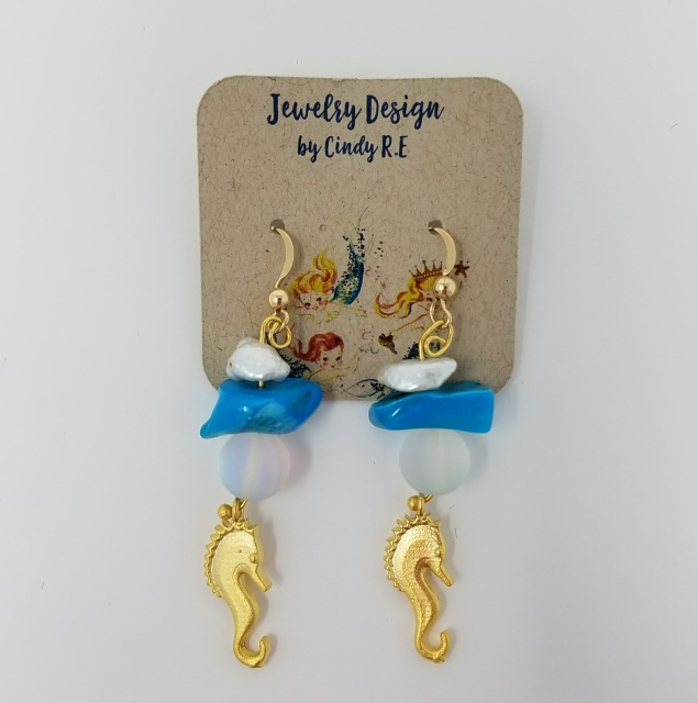 8080c346b Earrings with Rainbow Moonstone, Shell, Freshwater Pearls, Gold Plated  Seahorse Charm, and Gold Plated Earring Hooks